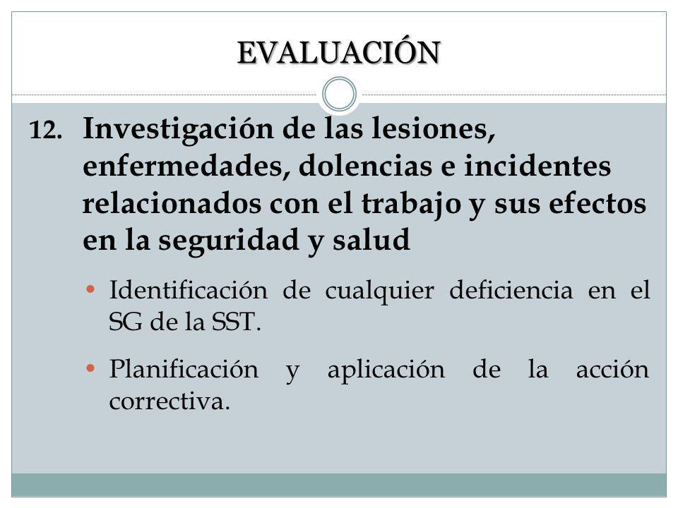 EVALUACIÓN 12. Investigación de las lesiones, enfermedades, dolencias e incidentes relacionados con el trabajo y sus efectos en la seguridad y salud.