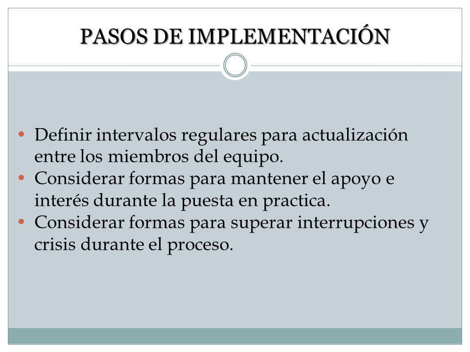 PASOS DE IMPLEMENTACIÓN