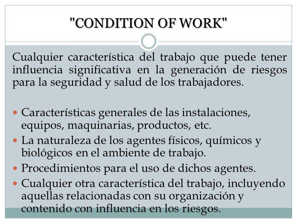 CONDITION OF WORK