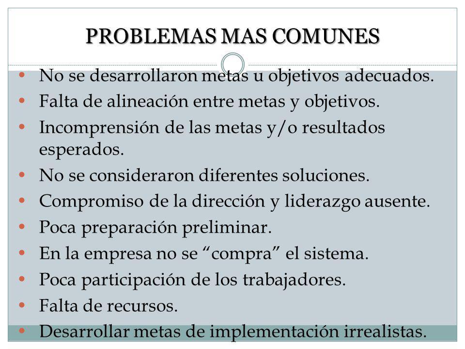 PROBLEMAS MAS COMUNES No se desarrollaron metas u objetivos adecuados.