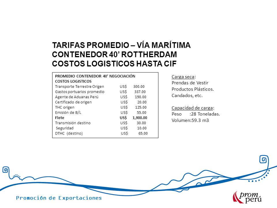 TARIFAS PROMEDIO – VÍA MARÍTIMA CONTENEDOR 40' ROTTHERDAM COSTOS LOGISTICOS HASTA CIF