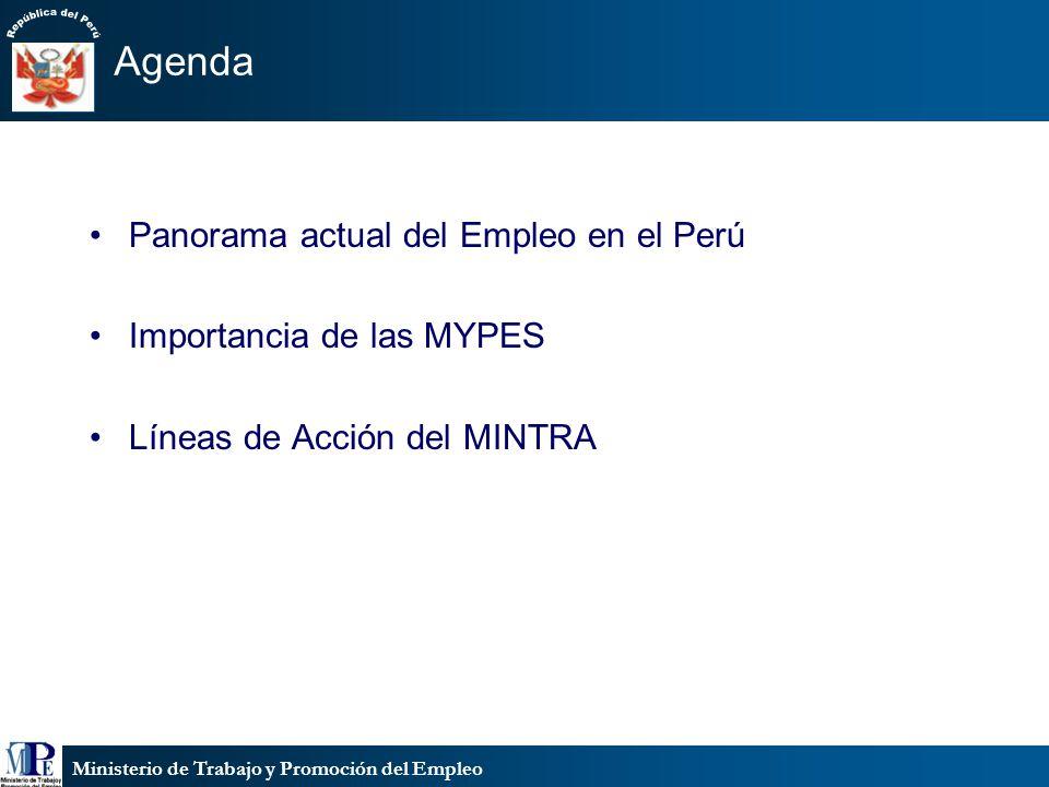 Agenda Panorama actual del Empleo en el Perú Importancia de las MYPES