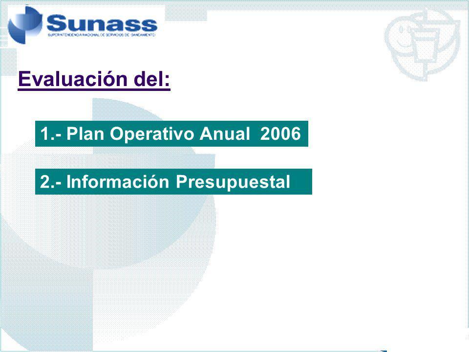 Evaluación del: 1.- Plan Operativo Anual 2006
