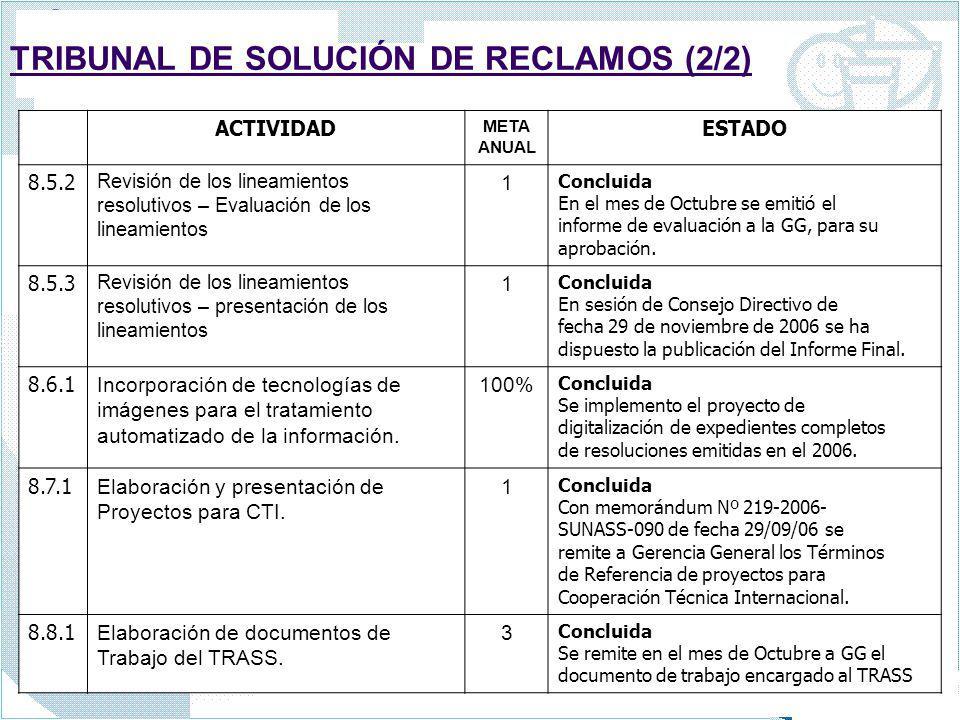 TRIBUNAL DE SOLUCIÓN DE RECLAMOS (2/2)