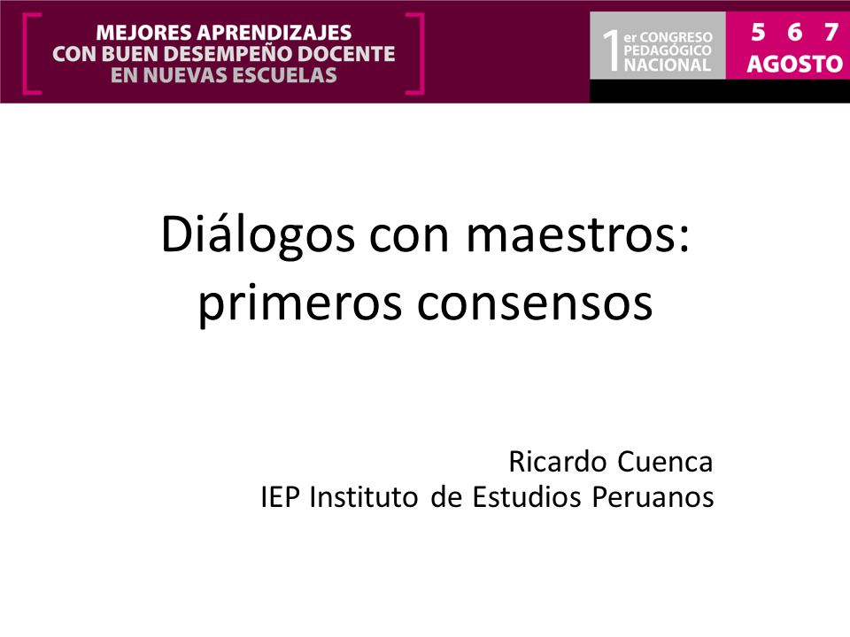 Diálogos con maestros: primeros consensos