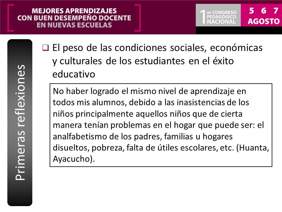 Primeras reflexiones El peso de las condiciones sociales, económicas y culturales de los estudiantes en el éxito educativo.