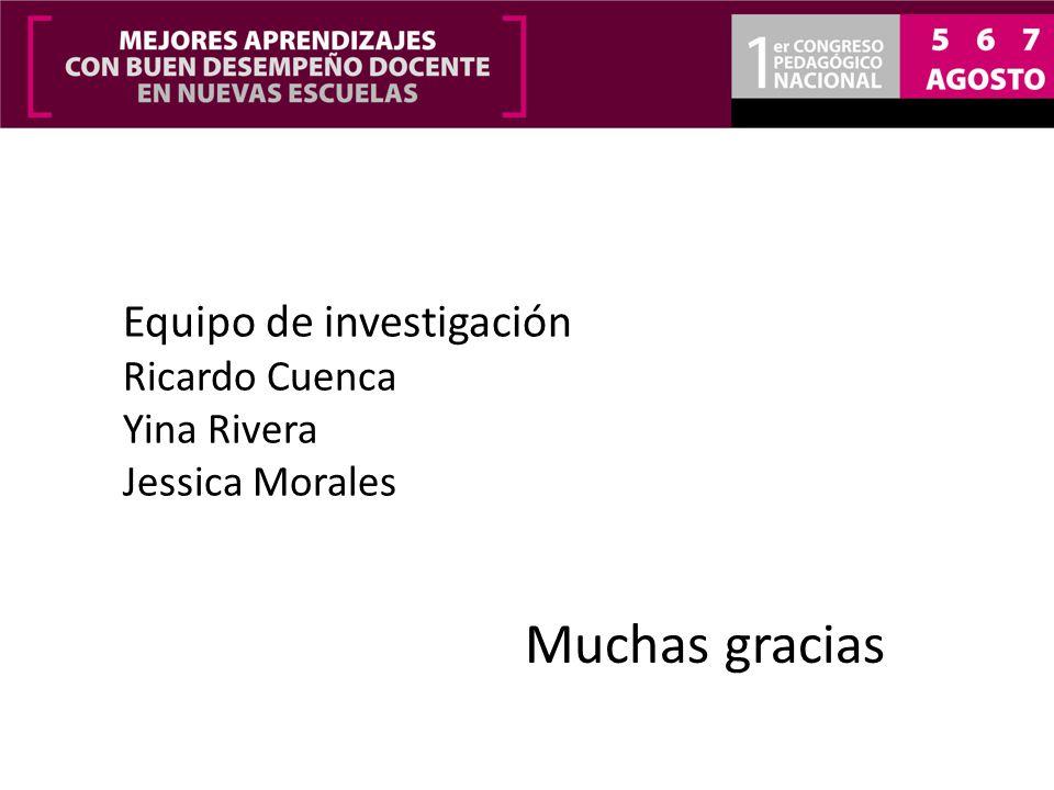 Muchas gracias Equipo de investigación Ricardo Cuenca Yina Rivera