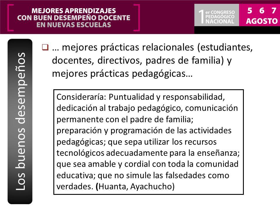 Los buenos desempeños … mejores prácticas relacionales (estudiantes, docentes, directivos, padres de familia) y mejores prácticas pedagógicas…