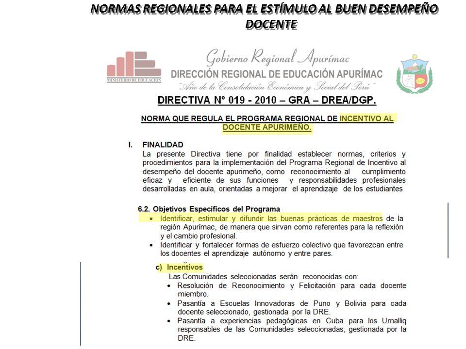NORMAS REGIONALES PARA EL ESTÍMULO AL BUEN DESEMPEÑO DOCENTE