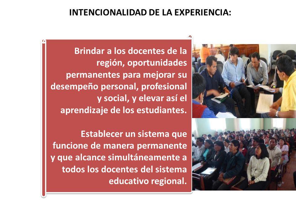 INTENCIONALIDAD DE LA EXPERIENCIA: