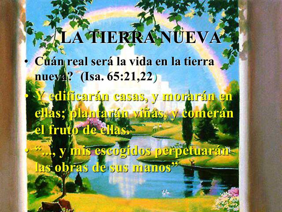 LA TIERRA NUEVA Cuán real será la vida en la tierra nueva (Isa. 65:21,22)