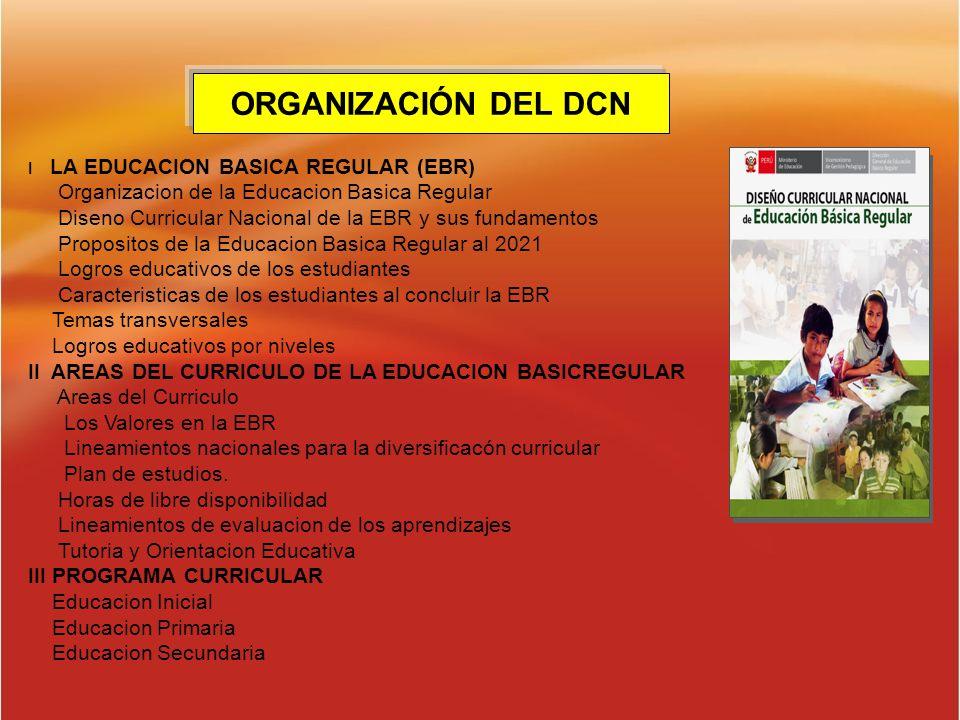 ORGANIZACIÓN DEL DCN Organizacion de la Educacion Basica Regular