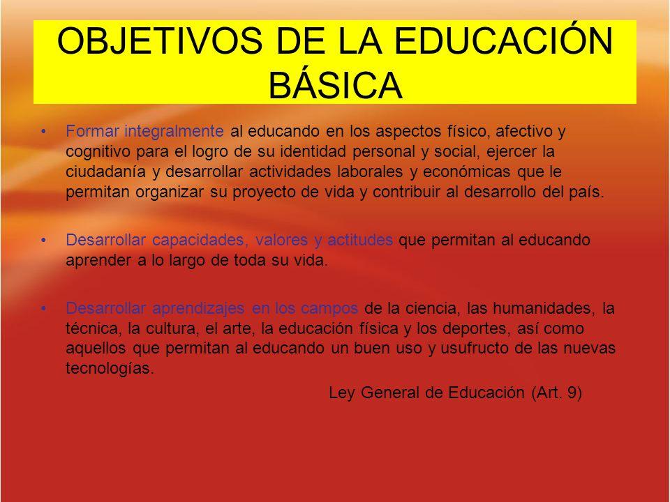 OBJETIVOS DE LA EDUCACIÓN BÁSICA