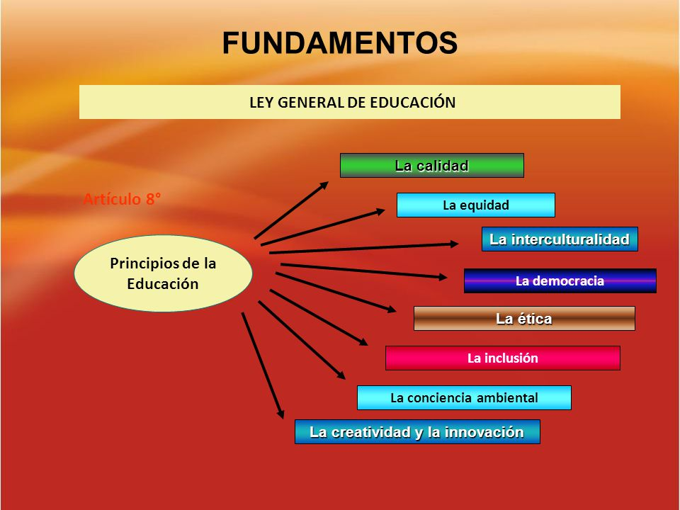 FUNDAMENTOS Artículo 8° LEY GENERAL DE EDUCACIÓN