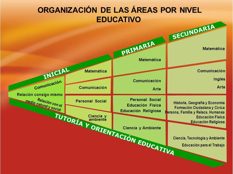 ORGANIZACIÓN DE LAS ÁREAS POR NIVEL EDUCATIVO