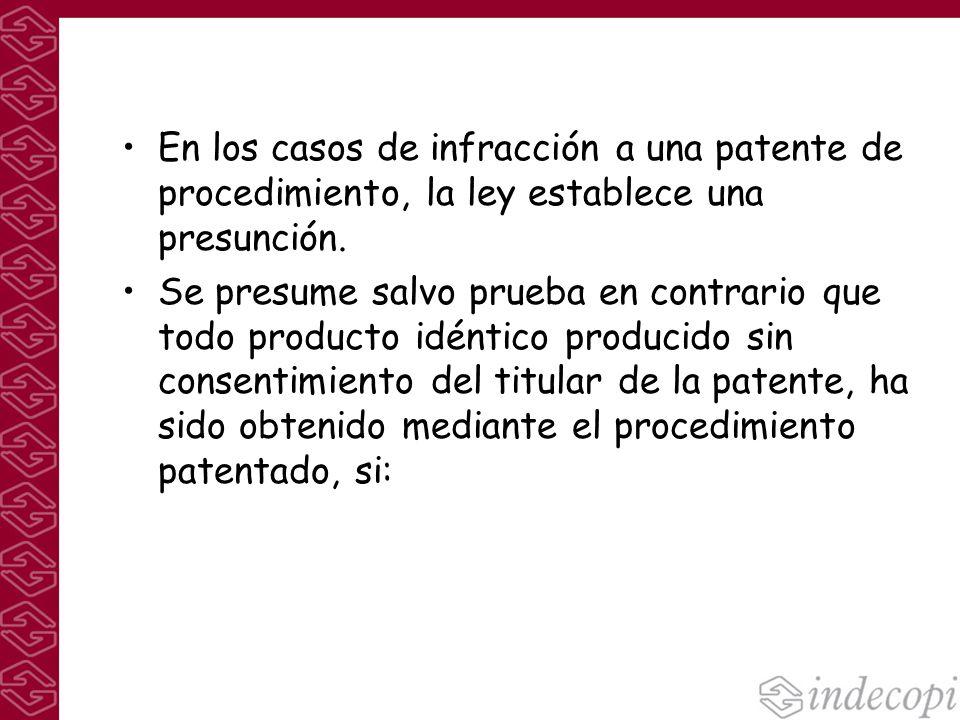 En los casos de infracción a una patente de procedimiento, la ley establece una presunción.