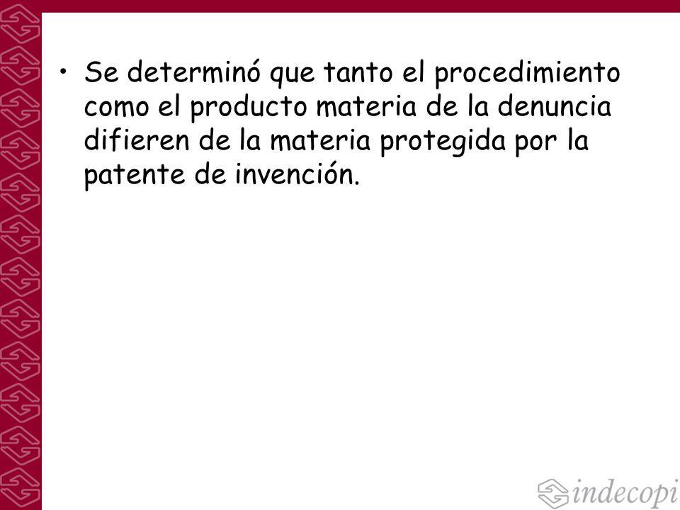 Se determinó que tanto el procedimiento como el producto materia de la denuncia difieren de la materia protegida por la patente de invención.