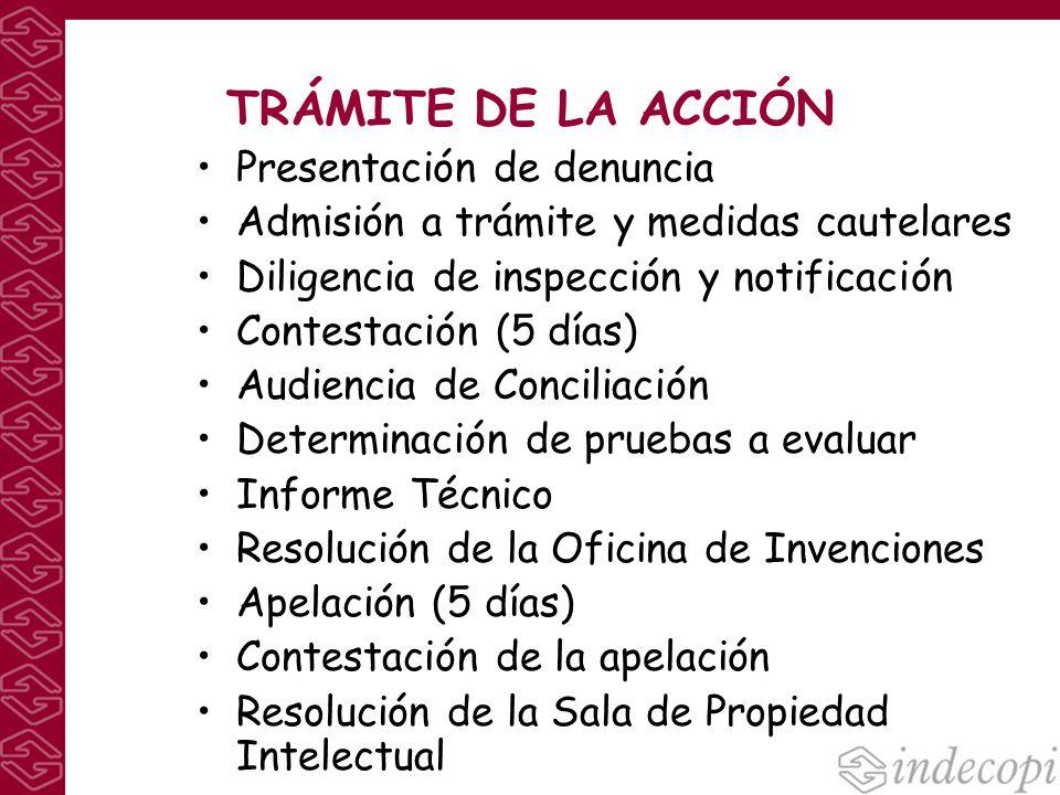 TRÁMITE DE LA ACCIÓN Presentación de denuncia