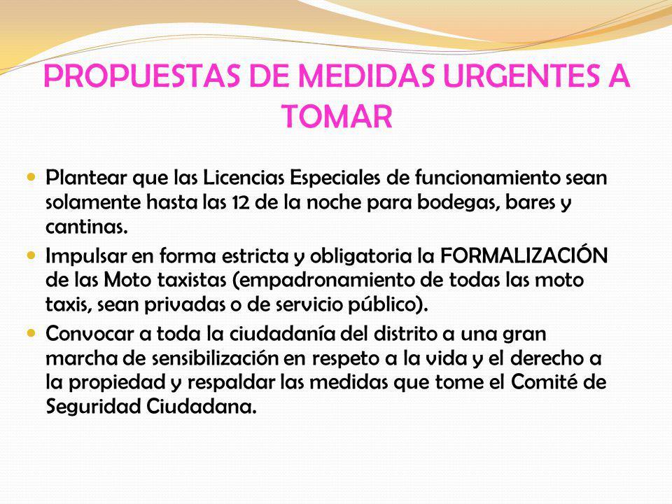 PROPUESTAS DE MEDIDAS URGENTES A TOMAR