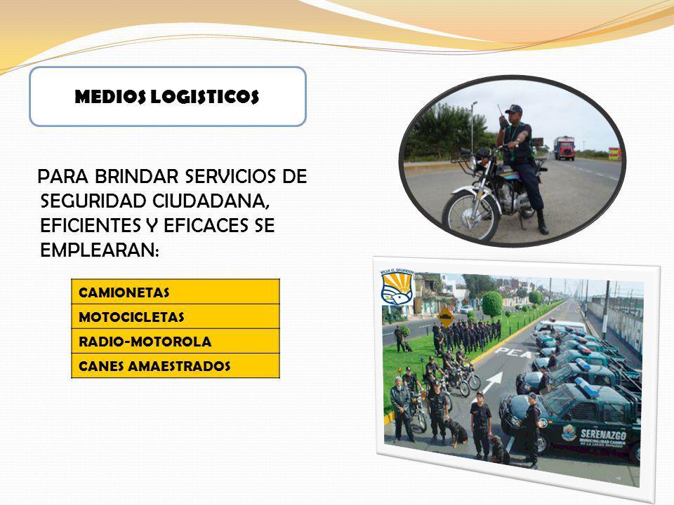 MEDIOS LOGISTICOS PARA BRINDAR SERVICIOS DE SEGURIDAD CIUDADANA, EFICIENTES Y EFICACES SE EMPLEARAN: