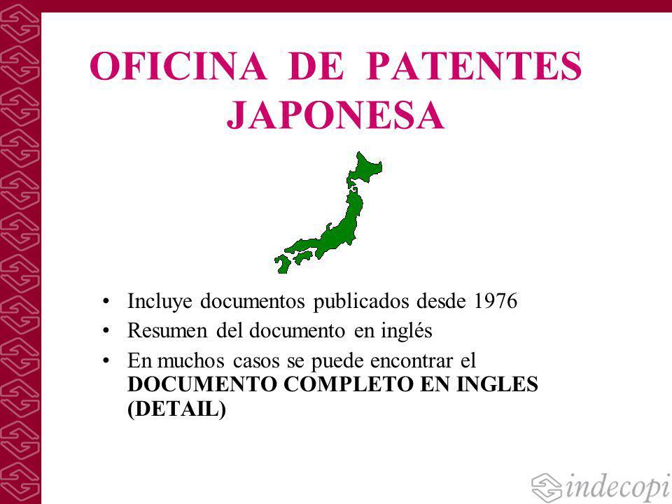 B squedas de patentes en bases de datos de acceso gratuito for Oficina de patentes