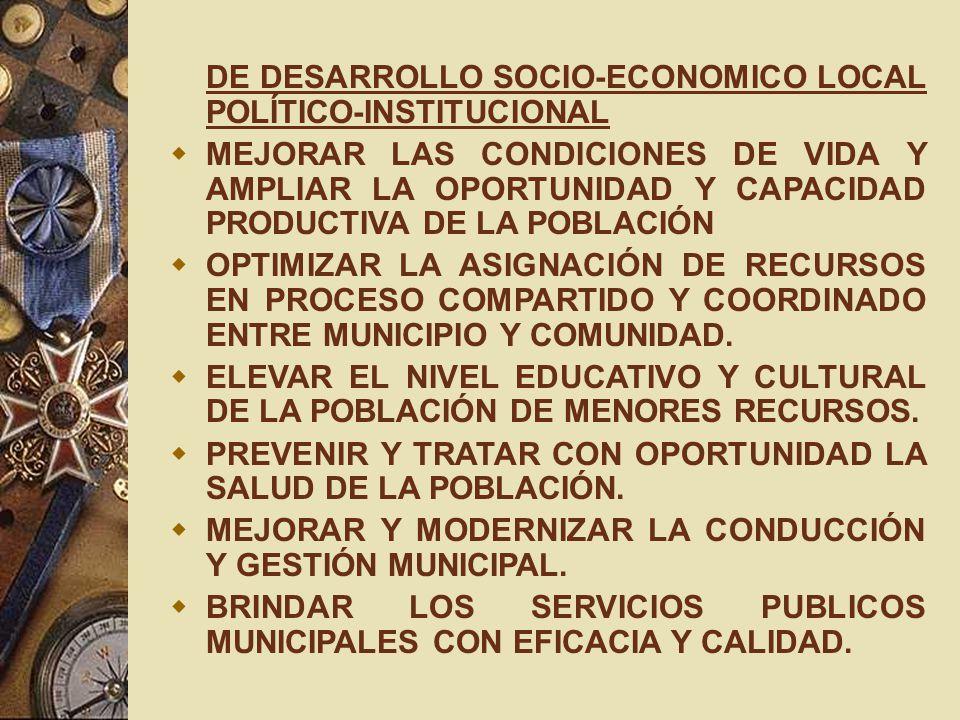DE DESARROLLO SOCIO-ECONOMICO LOCAL POLÍTICO-INSTITUCIONAL