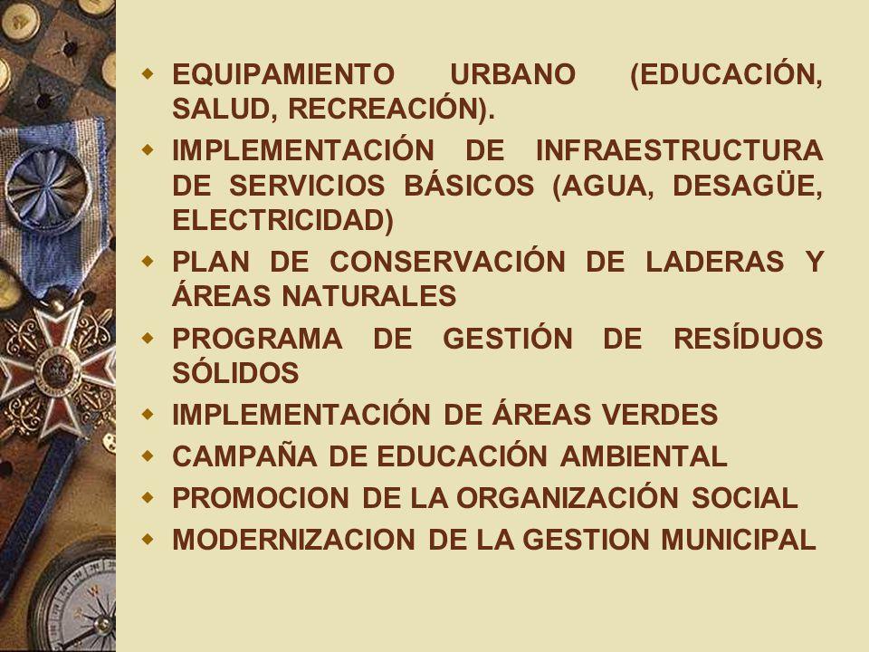EQUIPAMIENTO URBANO (EDUCACIÓN, SALUD, RECREACIÓN).
