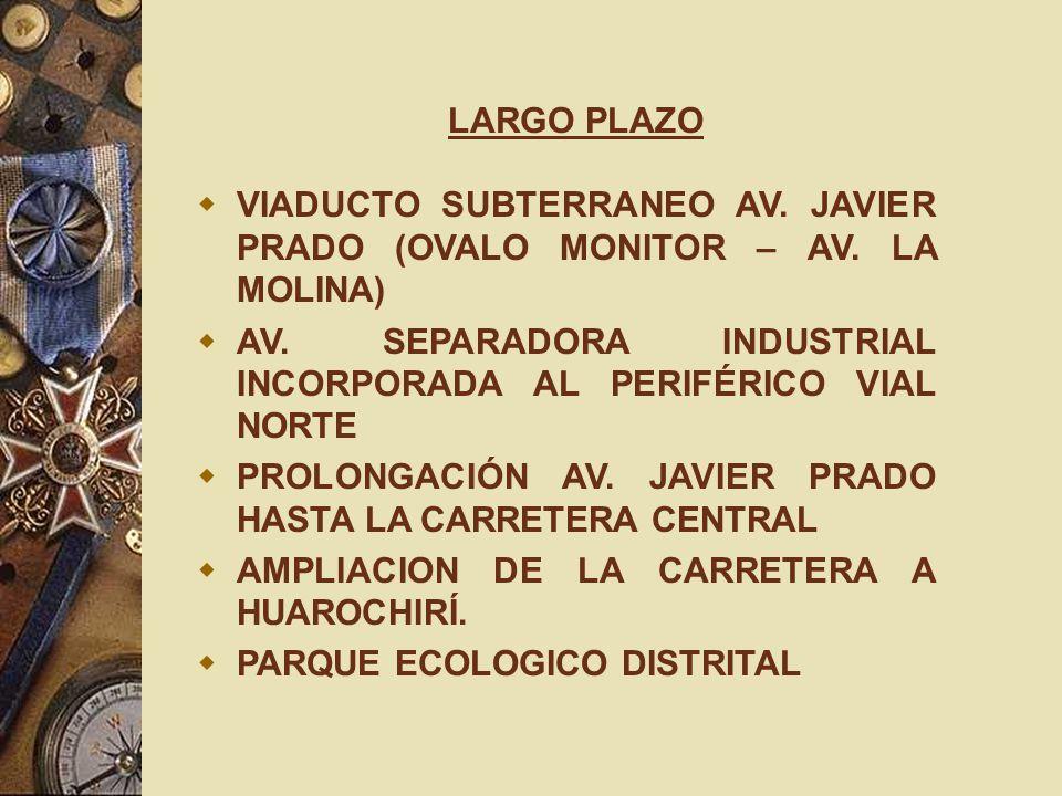 LARGO PLAZO VIADUCTO SUBTERRANEO AV. JAVIER PRADO (OVALO MONITOR – AV. LA MOLINA) AV. SEPARADORA INDUSTRIAL INCORPORADA AL PERIFÉRICO VIAL NORTE.