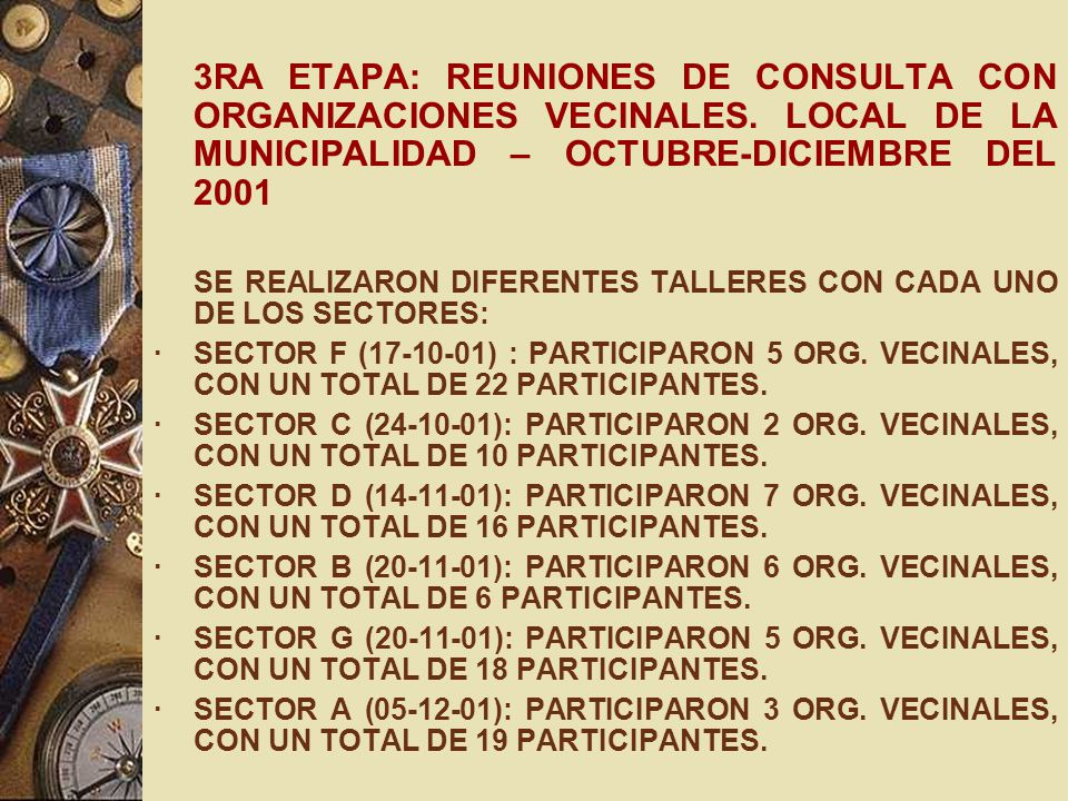 3RA ETAPA: REUNIONES DE CONSULTA CON ORGANIZACIONES VECINALES