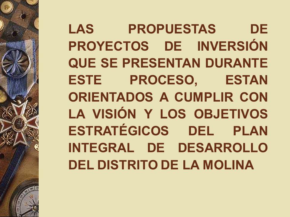LAS PROPUESTAS DE PROYECTOS DE INVERSIÓN QUE SE PRESENTAN DURANTE ESTE PROCESO, ESTAN ORIENTADOS A CUMPLIR CON LA VISIÓN Y LOS OBJETIVOS ESTRATÉGICOS DEL PLAN INTEGRAL DE DESARROLLO DEL DISTRITO DE LA MOLINA