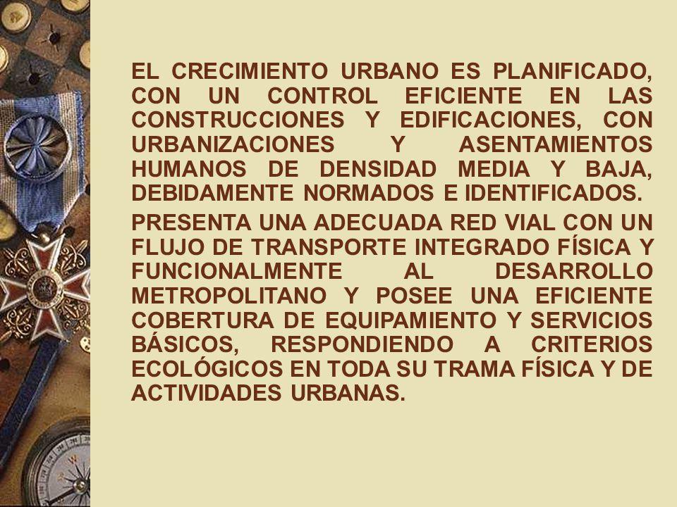 EL CRECIMIENTO URBANO ES PLANIFICADO, CON UN CONTROL EFICIENTE EN LAS CONSTRUCCIONES Y EDIFICACIONES, CON URBANIZACIONES Y ASENTAMIENTOS HUMANOS DE DENSIDAD MEDIA Y BAJA, DEBIDAMENTE NORMADOS E IDENTIFICADOS.