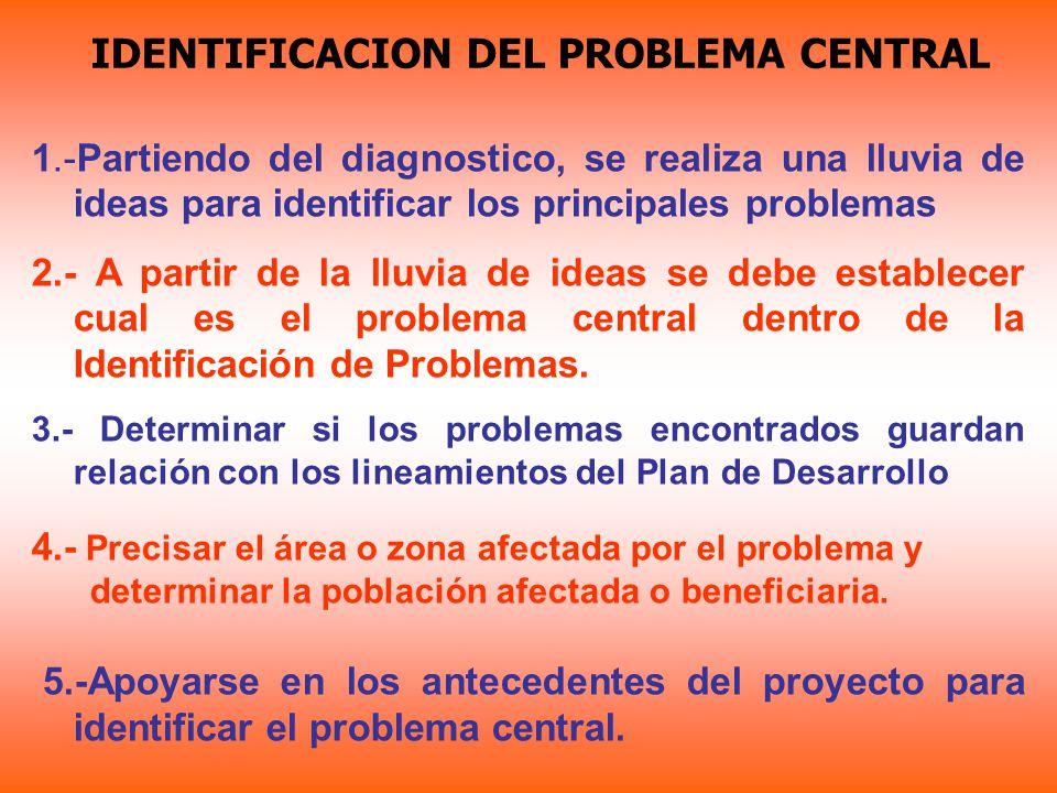 IDENTIFICACION DEL PROBLEMA CENTRAL