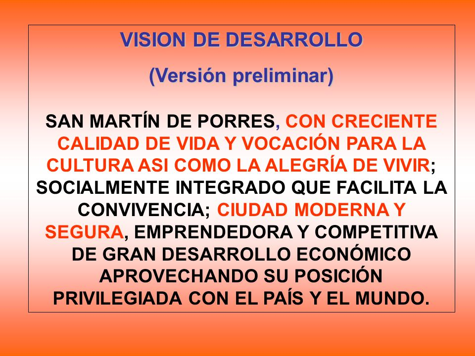 VISION DE DESARROLLO (Versión preliminar)