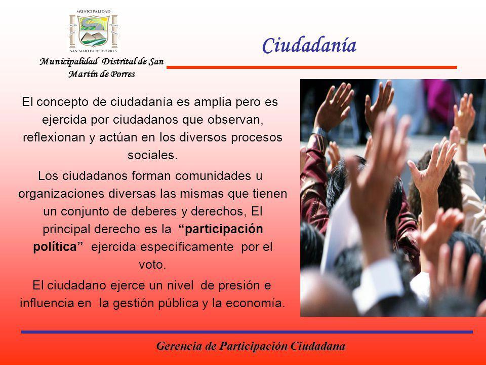 Ciudadanía Municipalidad Distrital de San Martín de Porres.