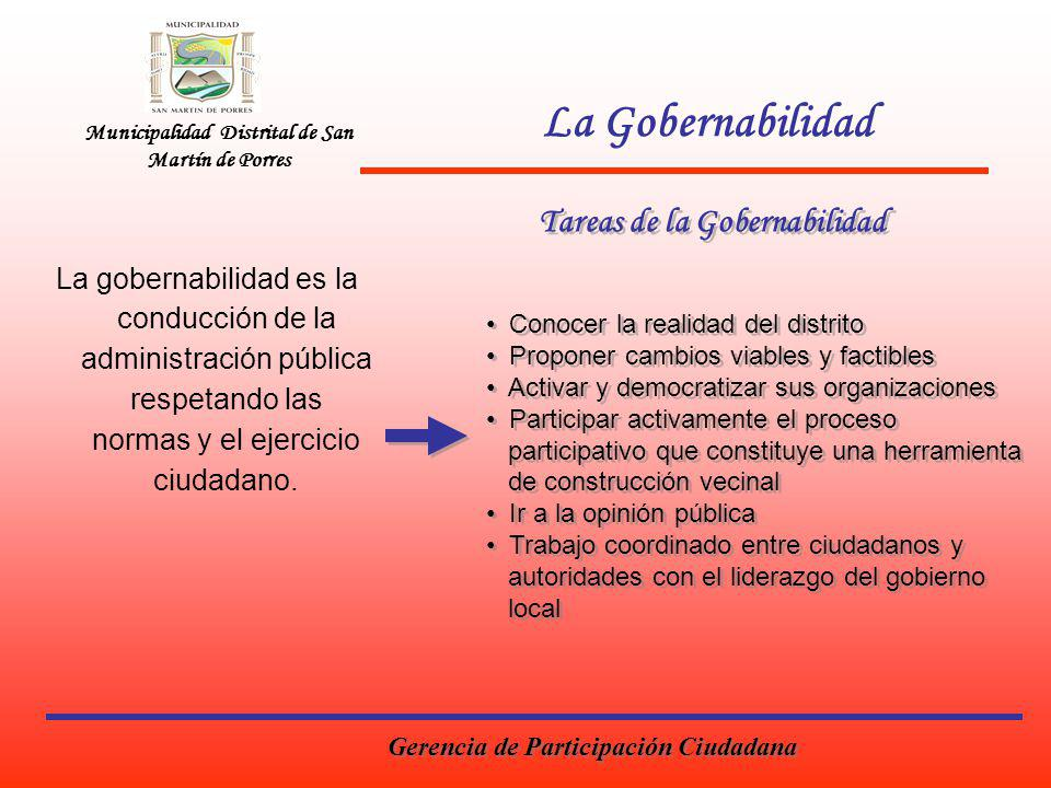 La Gobernabilidad Tareas de la Gobernabilidad