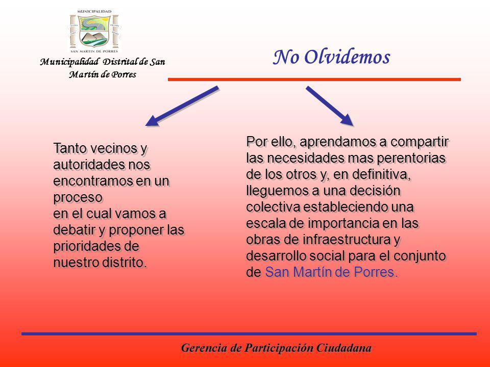 No Olvidemos Municipalidad Distrital de San Martín de Porres.