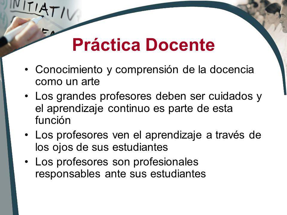 Práctica Docente Conocimiento y comprensión de la docencia como un arte.