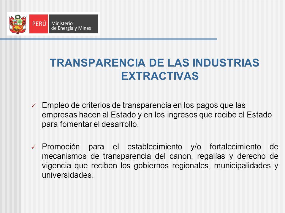 TRANSPARENCIA DE LAS INDUSTRIAS EXTRACTIVAS