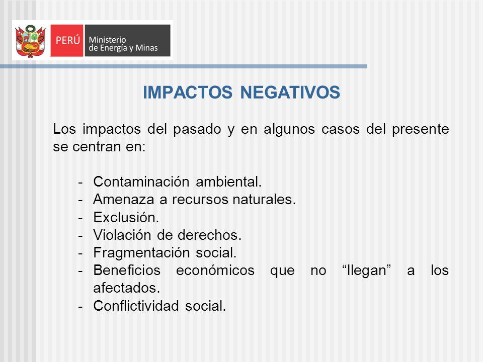 IMPACTOS NEGATIVOS Los impactos del pasado y en algunos casos del presente se centran en: Contaminación ambiental.