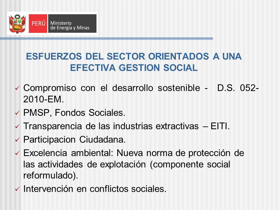 ESFUERZOS DEL SECTOR ORIENTADOS A UNA EFECTIVA GESTION SOCIAL