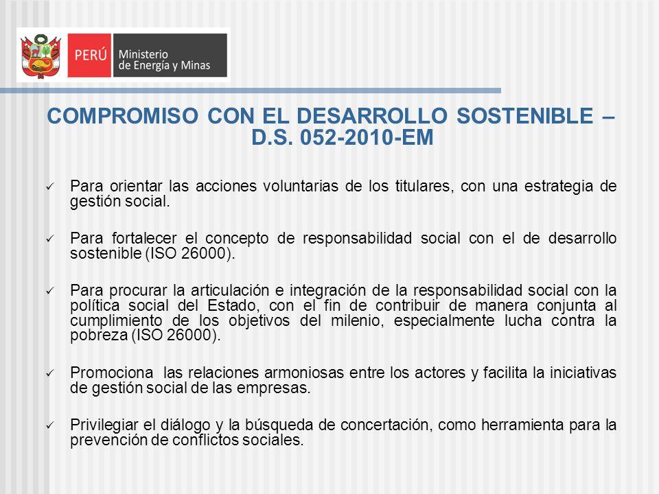 COMPROMISO CON EL DESARROLLO SOSTENIBLE – D.S. 052-2010-EM