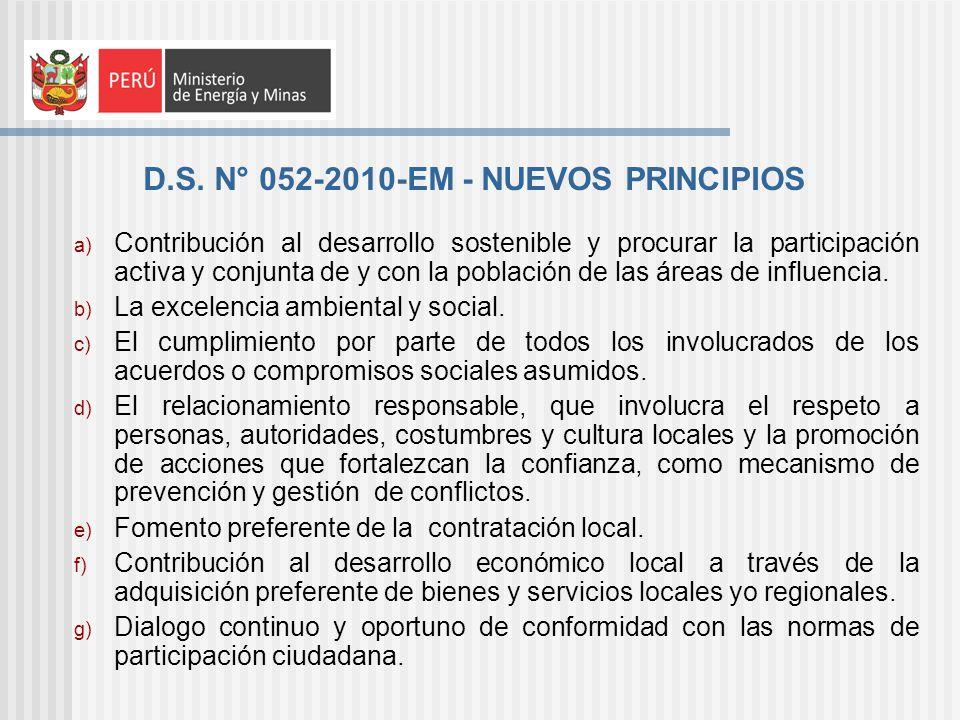 D.S. N° 052-2010-EM - NUEVOS PRINCIPIOS