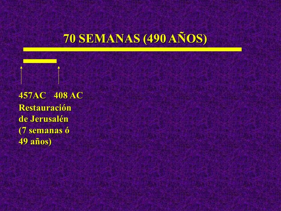 70 SEMANAS (490 AÑOS) 457AC 408 AC Restauración de Jerusalén