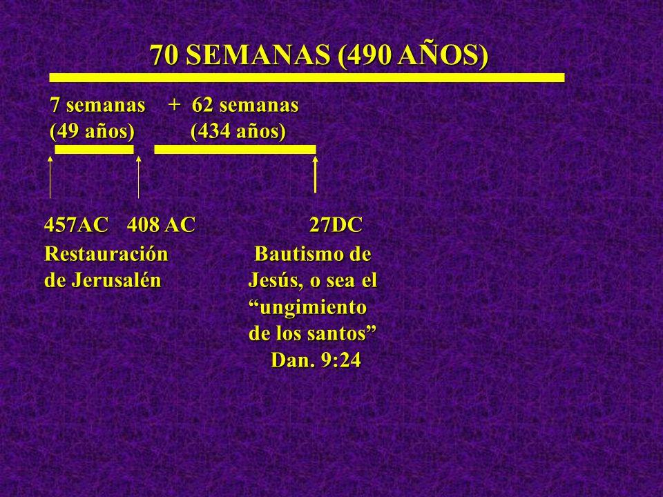 70 SEMANAS (490 AÑOS) 7 semanas + 62 semanas (49 años) (434 años)
