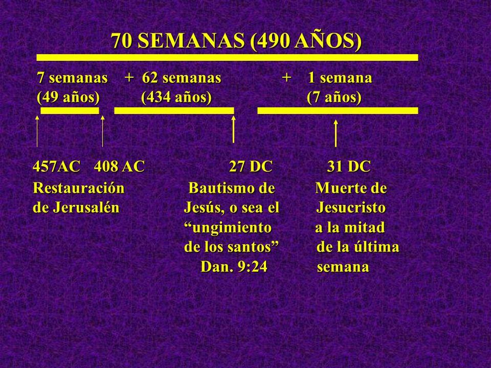 70 SEMANAS (490 AÑOS) 7 semanas + 62 semanas + 1 semana