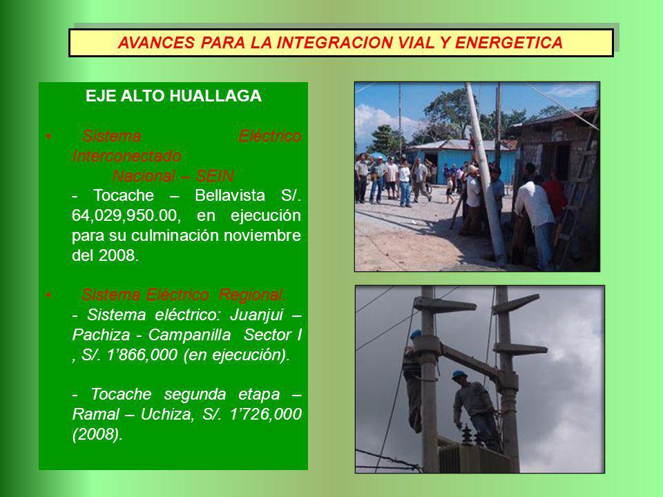 AVANCES PARA LA INTEGRACION VIAL Y ENERGETICA