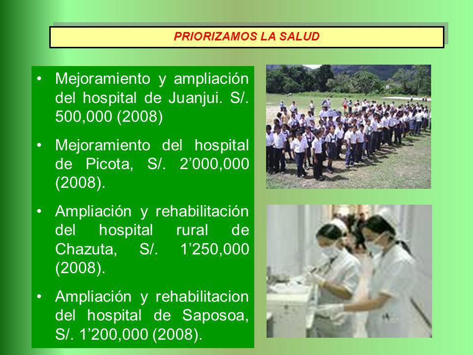 Mejoramiento y ampliación del hospital de Juanjui. S/. 500,000 (2008)