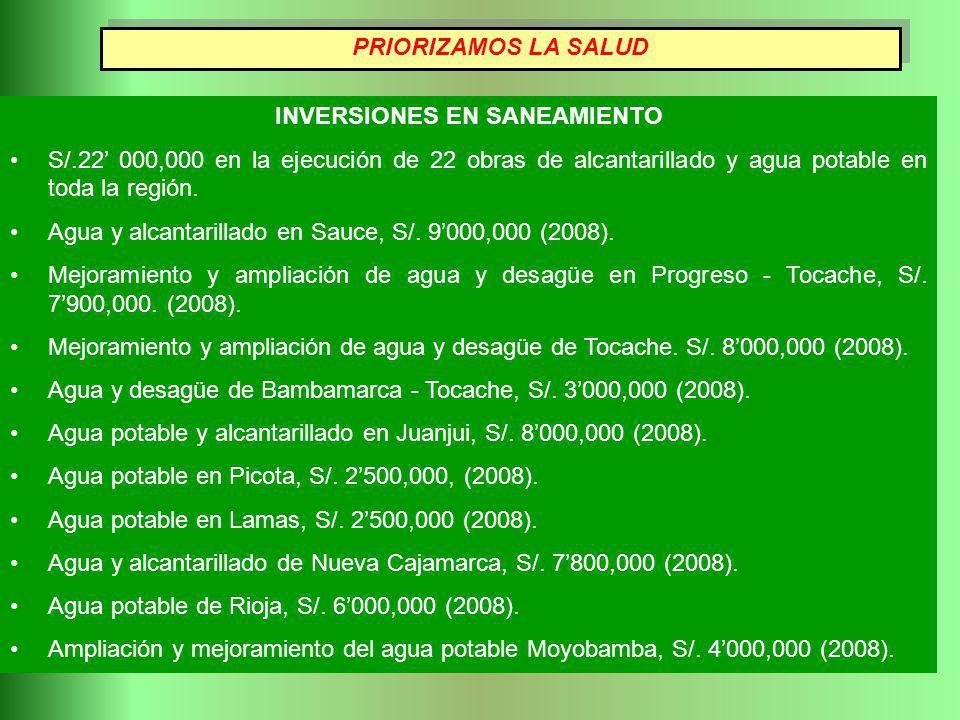 INVERSIONES EN SANEAMIENTO