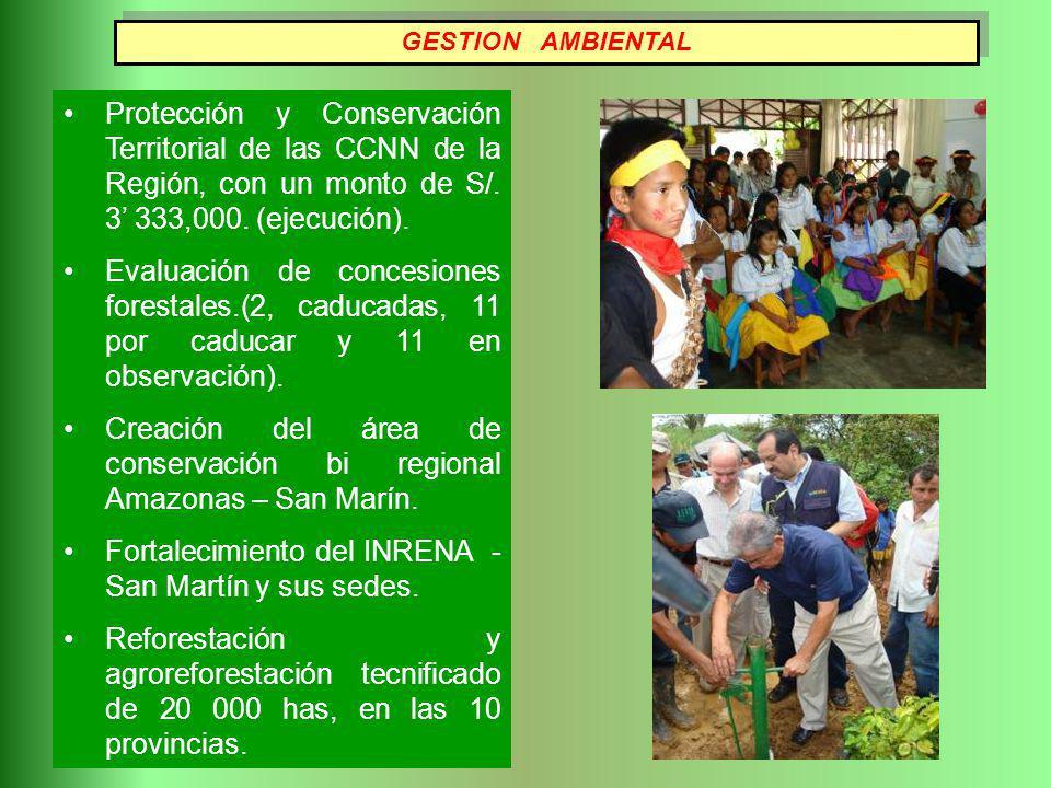 Creación del área de conservación bi regional Amazonas – San Marín.