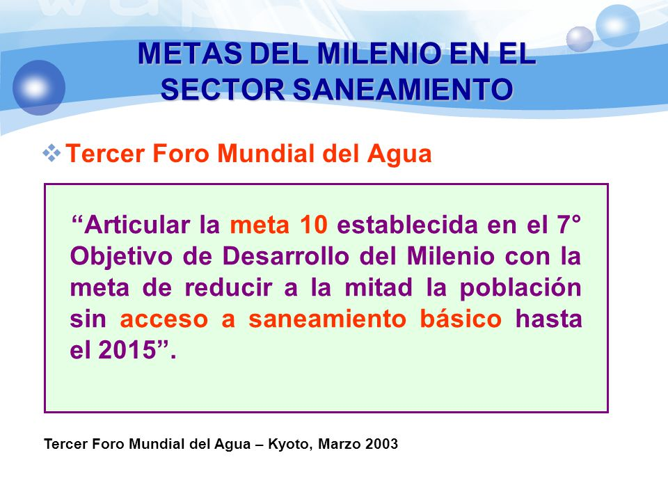 METAS DEL MILENIO EN EL SECTOR SANEAMIENTO